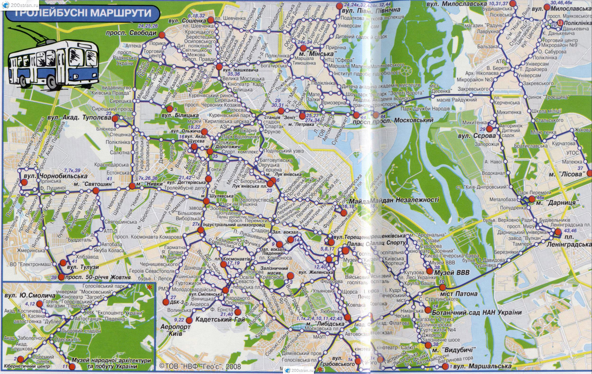 Карта схема маршрутов и остановок троллейбуса Киева.