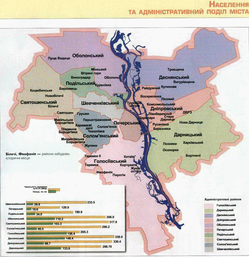 Административно-территориальное деление г. Киева до 2001 года и... Карта скоростного транспорта Киева (метро...